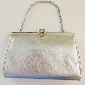 Vintage Metallic Silver Clutch Purse